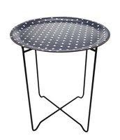 Metaal Vouwbare Stand met ronde dienblad 43,5cm, zwart, KAOKAB, laminated wood