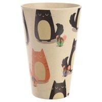 Drinkbeker bamboevezel Katten, duurzaam, herbruikbaar H 12.5cm B 8cm D 8cm