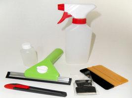 Plaatsing: Mini Kit Deluxe (cutter, krabber, wisser, oplossing, squeegee & verstuiver)