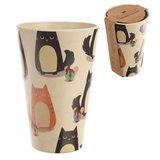 Drinkbeker bamboevezel Katten, duurzaam, herbruikbaar H 12.5cm B 8cm D 8cm_
