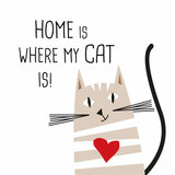 Set 20 Servetten 33x33cm Cat Home, wit bedrukt_