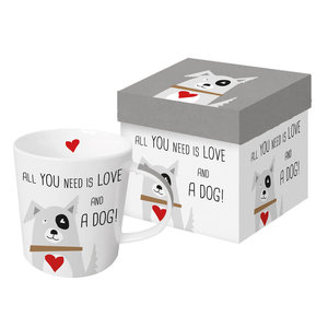 Koffer Set 1 Mok porselein Dog Love - 350ml