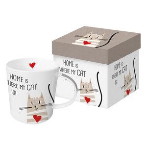 Koffer Set 1 Mok porselein Cat Home - 350ml