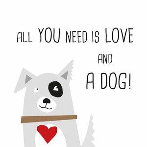 Set 20 Servetten 33x33cm Dog Love, wit bedrukt
